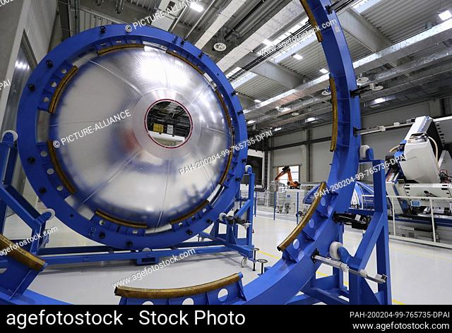03 February 2020, Bavaria, Augsburg: A tank section of an Ariane 6 rocket is located in a production hall of the space technology company MT Aerospace