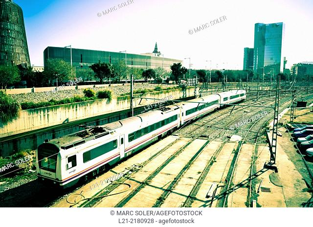 Train, railways. Barcelona, Catalonia, Spain