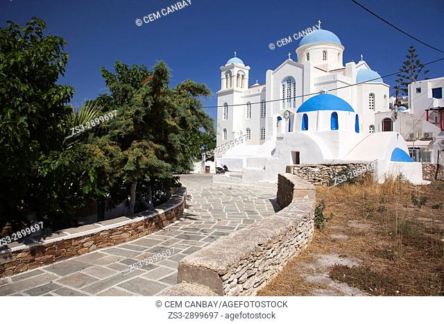 View to the blue domed Cathedral church and the blue domed chapel in the old town Hora, Ios, Cyclades Islands, Greek Islands, Greece, Europe