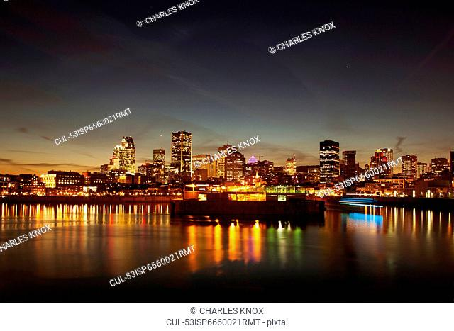 Montreal skyline lit up at night
