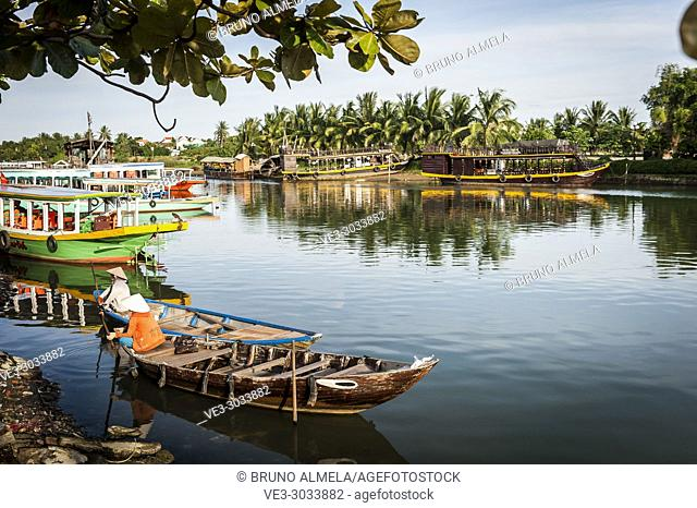 Boats in Hoi An harbor (Quang Nam province, Vietnam)