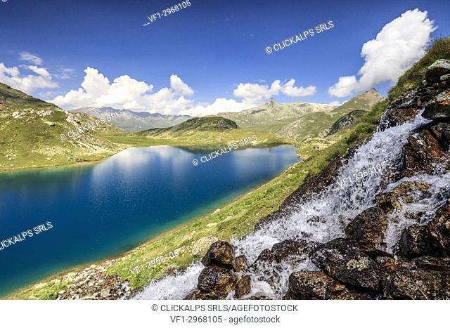 Water flows on mountain rocks, Leg Grevasalvas, Julierpass, Maloja, canton of Graubünden, Engadine, Switzerland