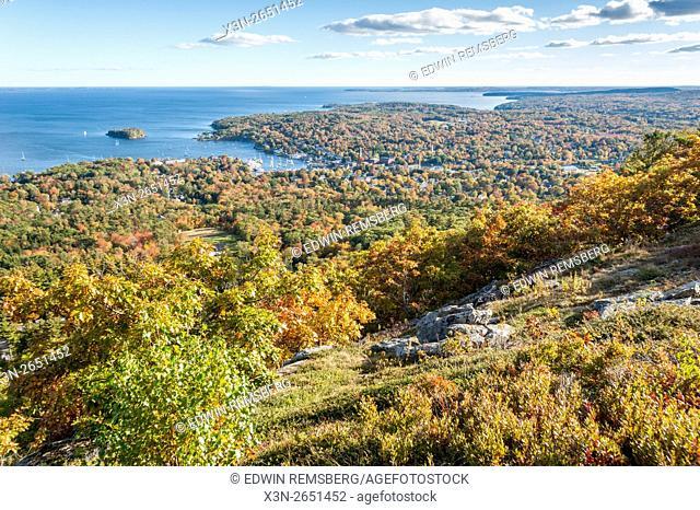 Landscape of Camden Hills State Park in Camden, Maine in autumn