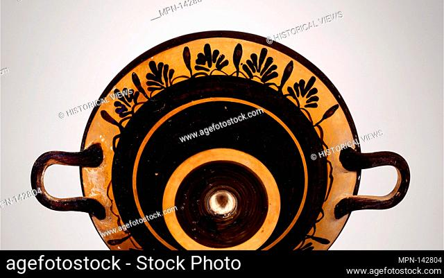 Terracotta kylix (drinking cup). Period: Archaic; Date: early 5th century B.C; Culture: Greek, Boeotian; Medium: Terracotta; Dimensions: H. 2 3/4 in