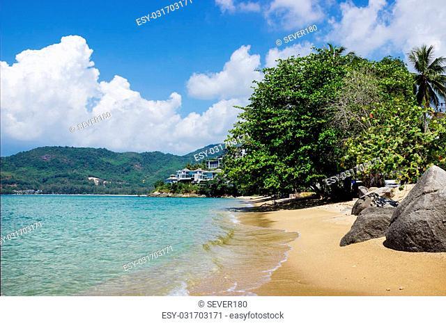 Guiet sea wave sand beach, Phuket, Thailand
