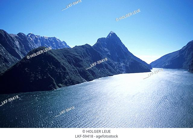 Aerial Photo of Mitre Peak and Milford Sound, Fiordland National Park, South Island, New Zealand