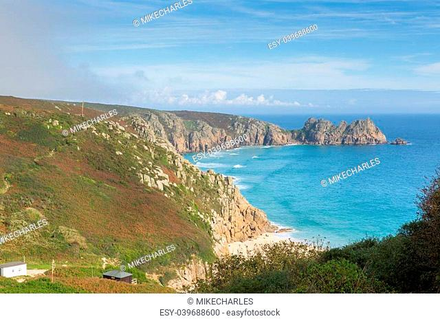 Coast of Cornwall England in autumn at Porthchapel near the Minack Theatre and Porthcurno