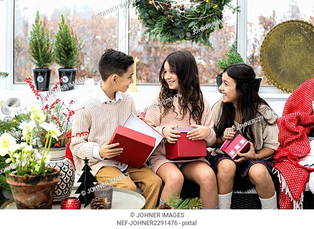 Three children during Chrstimas