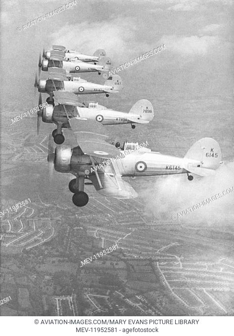 Royal-Airforce 3 Squadron Gloster Gladiators flying in formation