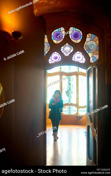 BARCELONA, SPAIN - January 23, 2019: Casa Batllo is the famous art work by an artist Antoni Gaudi. Gaudi was a Spanish architect who designed many buildings in...