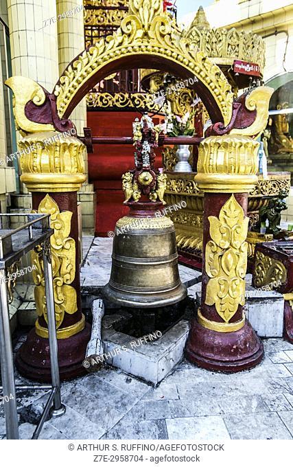 Bronze bell, Sule Pagoda, Yangon, Myanmar