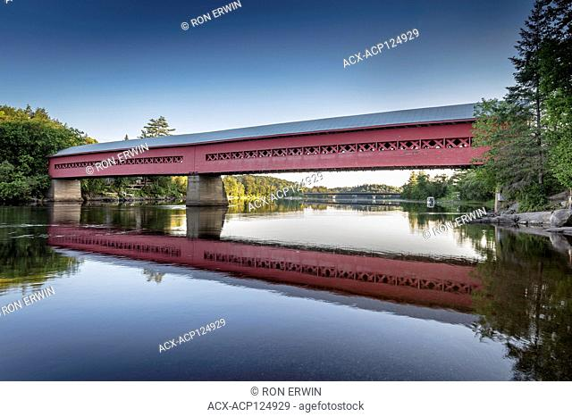 Wakefield Covered Bridge, a wooden replica of the 1915 Gendron Covered Bridge at Wakefield, Quebec, Canada that burned down in 1984