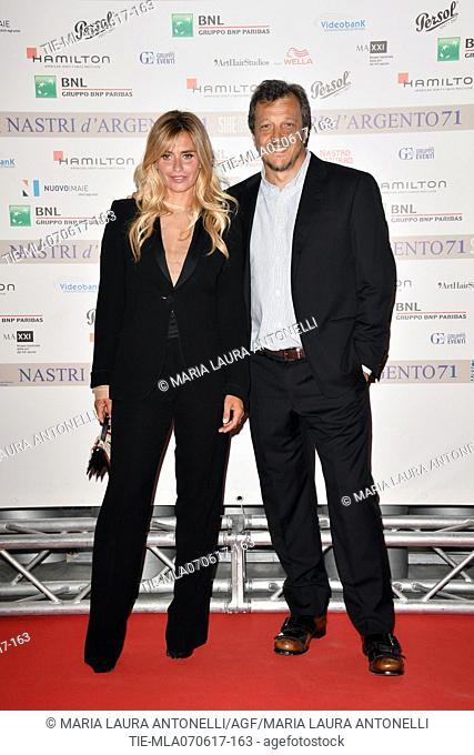 Gabriele Muccino and wife Angelica Russo during the photocall of nominations Nastri d'Argento 2017, Rome, ITALY-06-06-2017