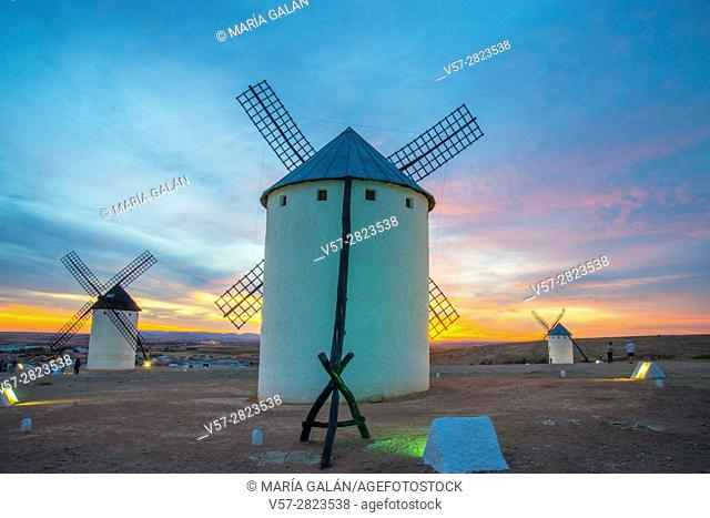 Windmills at sunset. Campo de Criptana, Ciudad Real province, Castilla La Mancha, Spain