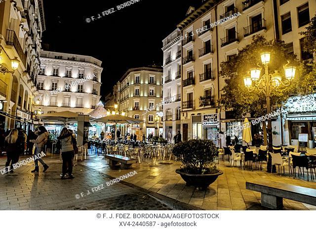 Plaza de Sas by Night, Saragossa, Spain