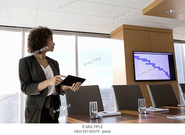 Businesswoman with digital tablet preparing audio visual presentation in conference room