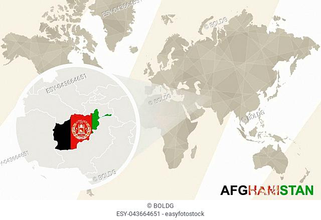 Zoom on Afghanistan Map and Flag. World Map