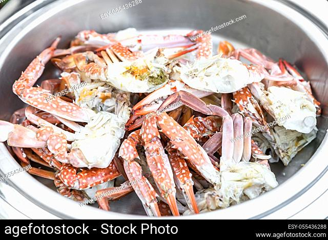 Steamed Crab in buffet line