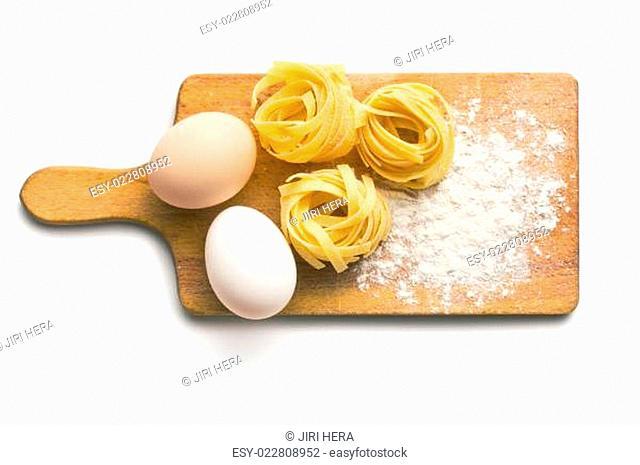 tagliatelle, eggs and flour