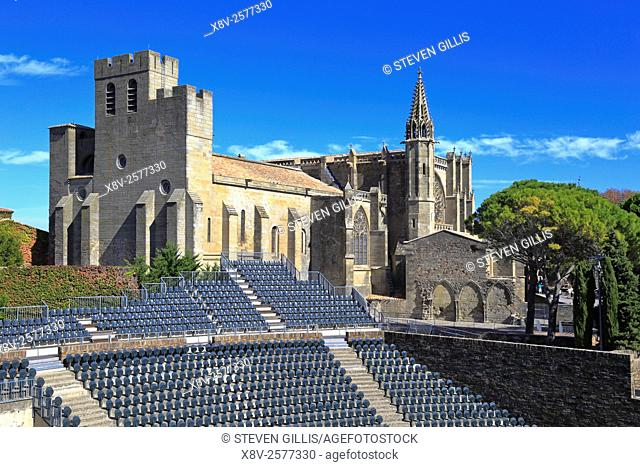 Basilica and Theatre medieval castle fortress at Carcassonne, Aude, Languedoc Roussillon, France a UNESCO world heritage site