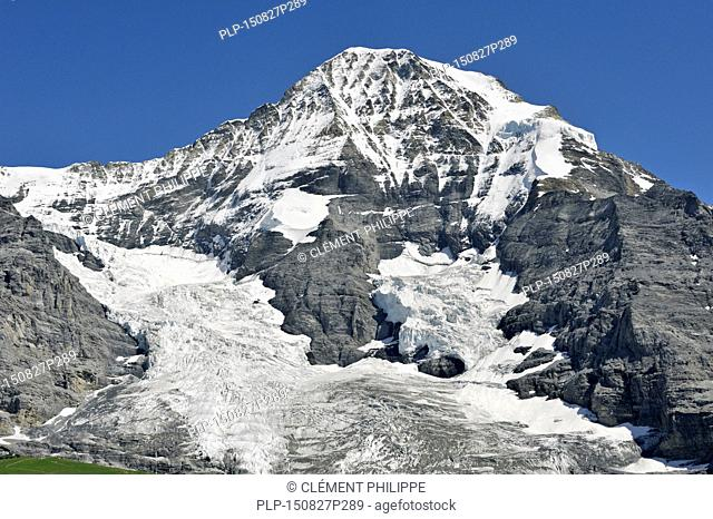 North face of the Mönch, forms part of a mountain ridge between the Jungfrau and the Eiger in the Bernese Alps, Switzerland