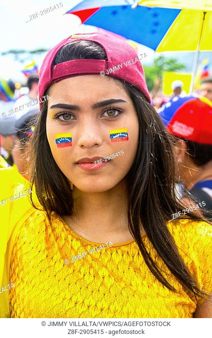 A young Venezuelan, in the concentration Somos Millones. Venezuelans opposed to the government gathered on Saturday, May 20, 2017