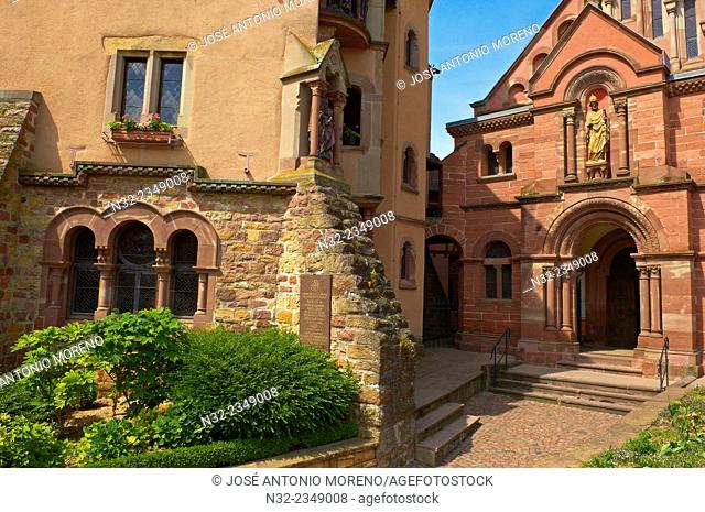 Eguisheim, Place du Chateau, St.Leo Capel, Castle, Alsace Wine Route, Haut-Rhin, Alsace, France, Europe