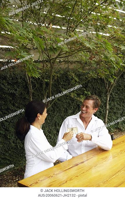 High angle view of a mature couple toasting with flutes of champagne