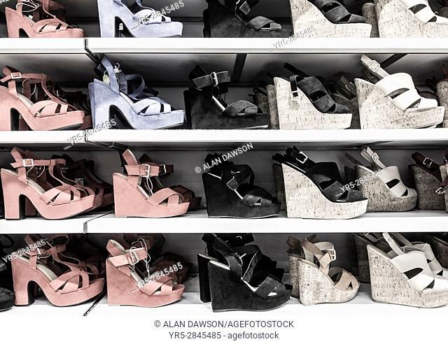 Shoe display in store
