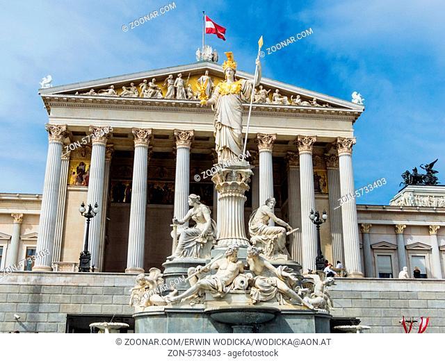 Das Parlament in Wien, Österreich. Mit der Statue der