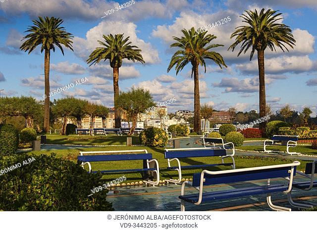 Panoramic view of Piquio garden, Santander. Cantabria Spain. Europe