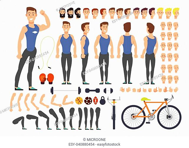 Cartoon man athlete vector character constructor with set of body parts and sports equipment. Character man with sport, equipment illustration