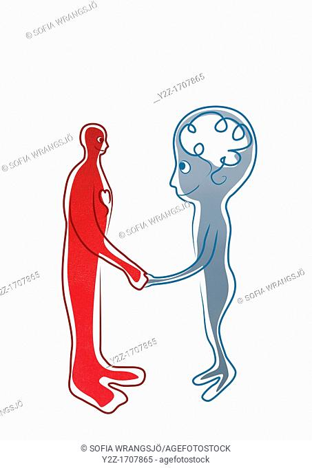 Red man with a big heart shaking hands with blue man with a big brain
