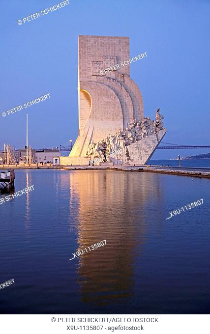 Monument to the Discoveries Padrao dos Descobrimentos in Belem at night, Lisbon, Portugal, Europe
