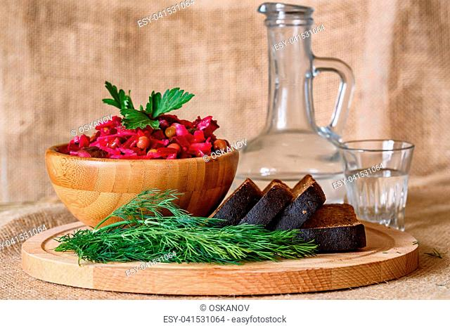 Vinegret - traditional Russian vegetable salad. Russian cuisine example. Selective focus