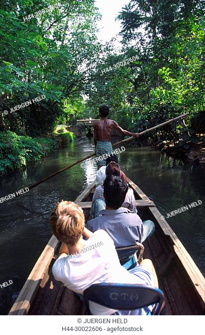 India Kerala tourist tour boat in backwaters
