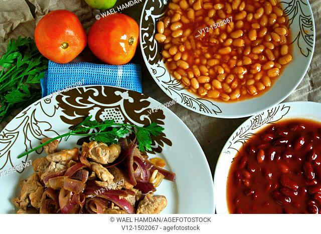 Arabic food, meat, Cooked Kidney Beans