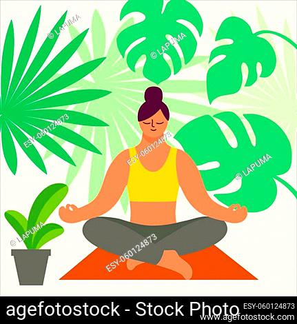 woman sitting in lotus position and meditating. color vector illustration