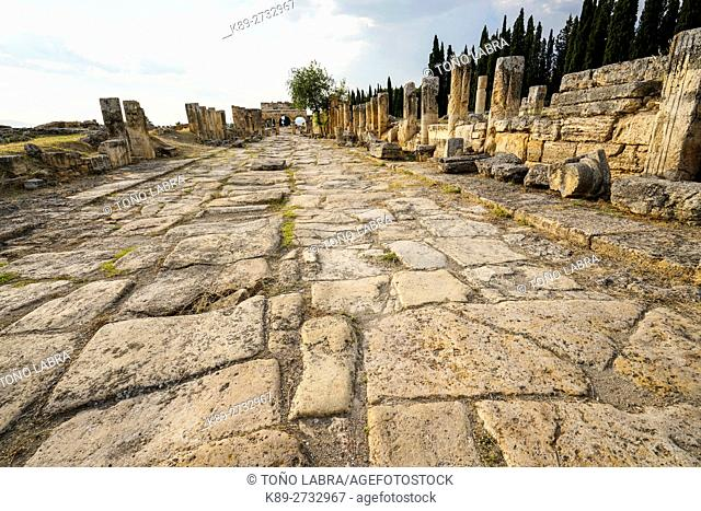 The Roman Road. Hierapolis. Ancient Greece. Asia Minor. Turkey