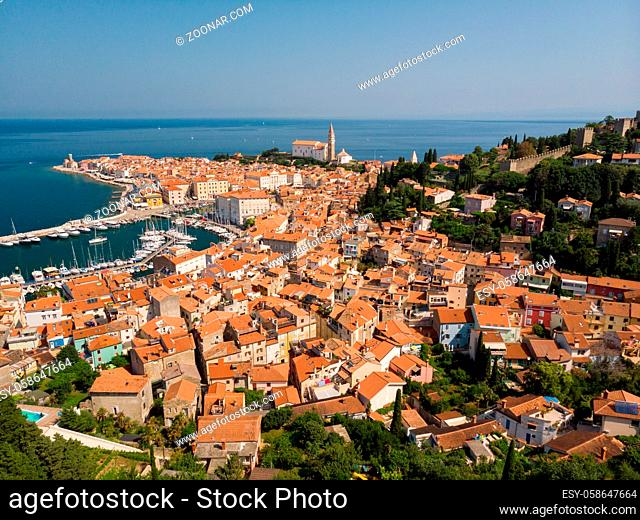 Aerial view of old town Piran. Splendid summer day on Adriatic Sea. Beautiful cityscape of Slovenia, Europe. Traveling concept background