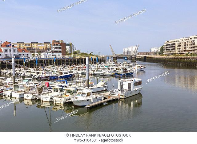 Local fishing fleet of small fishing boats in Dunkirk harbour, Dunkirk, France