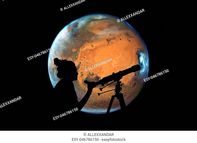 Girl looking at the stars with telescope. Mars planet, isolated on black.Elements of this image are furnished by NASA