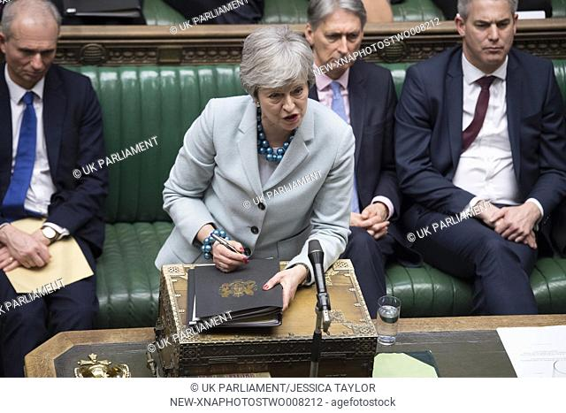 (190325) -- LONDON, March 25, 2019 (Xinhua) -- British Prime Minister Theresa May (Front) is seen during the Prime Minister's statement in the House of Commons...