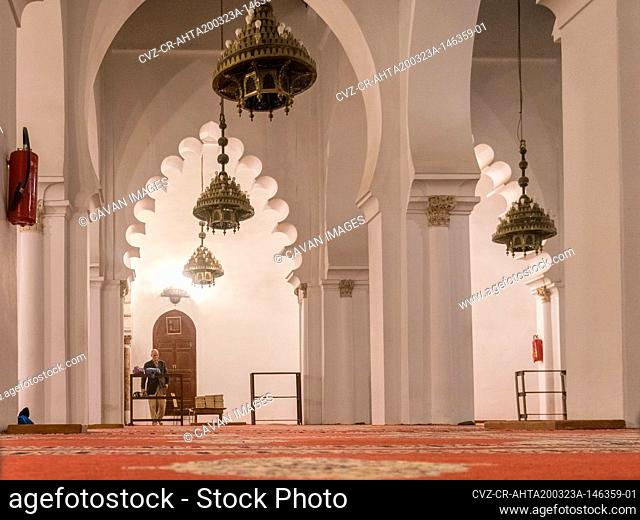 Koutoubia mosque interior with white pillars and decoration