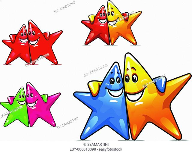 Set of smiling stars in cartoon stylefor friendship concept design
