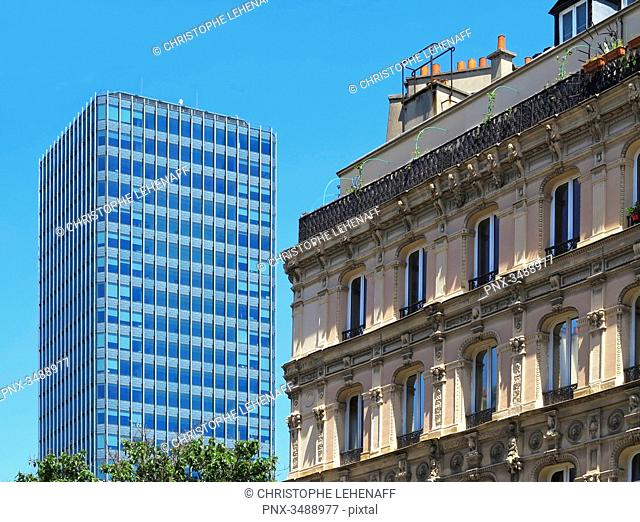 France, Paris. 5th arrondissement. Pierre and Marie Curie University. Jussieu. Main tower and old building