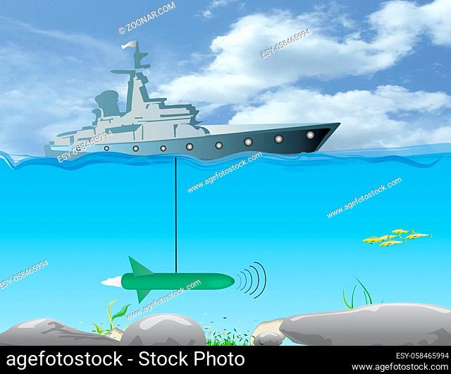 ship for underwater research with a sonic submarine