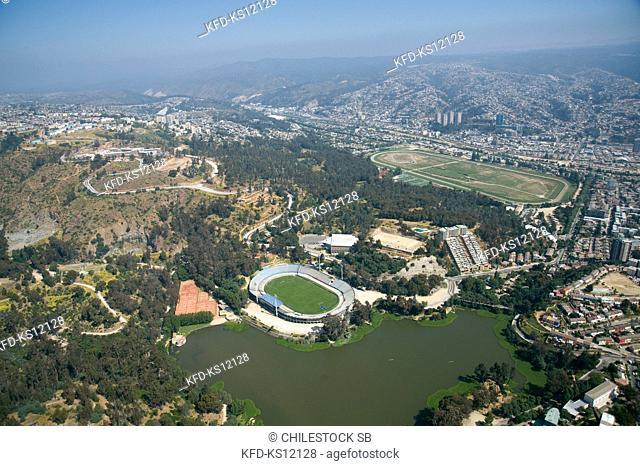 Chile, Aerial view of Sausalito Lake, Sausalito Stadium and Sporting Club Sausalito in Viña del Mar, South America