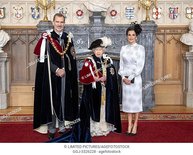 King Felipe VI of Spain, Queen Elizabeth II of the United Kingdom of Great Britain and Northern Ireland, Queen Letizia of Spain attends Order of the Garter...