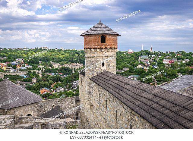 Walls and towers of castle in Kamianets-Podilskyi city in Khmelnytskyi Oblast of western Ukraine